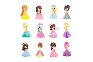 Set of Princesses in Evening Gowns