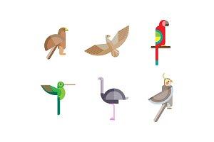 Birds set, eagle, falcon
