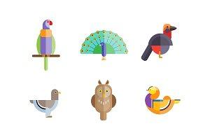 Birds set, owl, mandarin duck