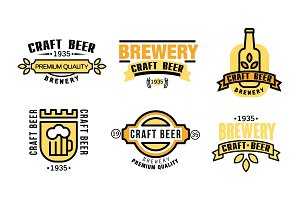 Craft beer premium quality logo set