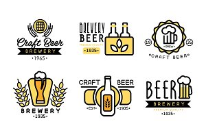 Craft beer logo set, vintage