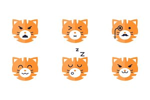 Tiger emojis set, cute tiger face