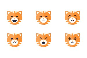 Tiger emoticons set, cute tiger