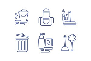 Cleaning service icons set, washing