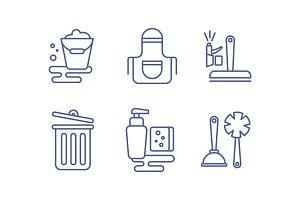 Cleaning service icons set, washing