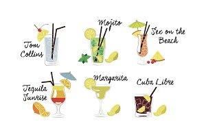 Alcoholic cocktails set, Tom