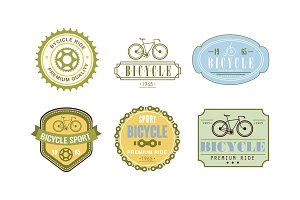 Retro bicycle sport logo set, badge