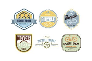 Retro bicycle sport logo set