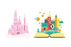 Fairytale castles, open book with