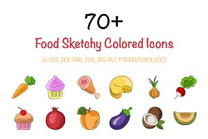 70+ Food Sketchy Colored Icons