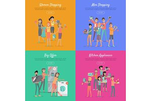 Shopping on Sale Flat Vector Web