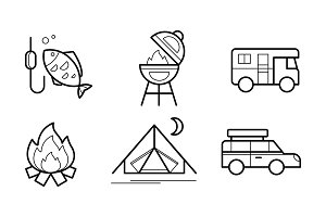 Hiking and camping linear icons set