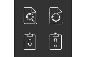 UI/UX chalk icons set