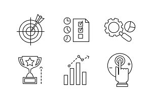 SEO line icons set, marketing, e