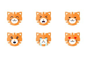 Tiger emoticon emoji set, cute