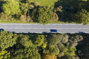 Aerial view of a car driving
