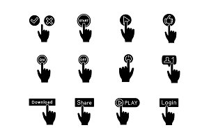 App buttons glyph icons set