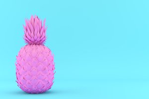 Painted Pink and Blue Pinapple