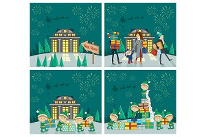 Set of Christmas Celebrating Vector