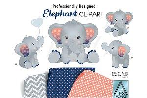 Navy Blue and Peach elephant clipart