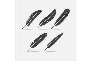 Feather Black Icon
