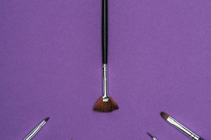top view of manicure brushes isolate