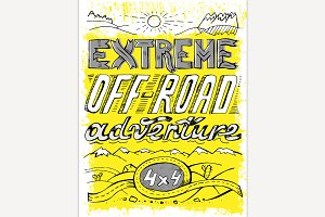 Hand drawn offroad poster