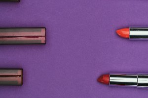 top view of colored lipsticks isolat