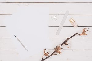 top view of scissors, nail file and