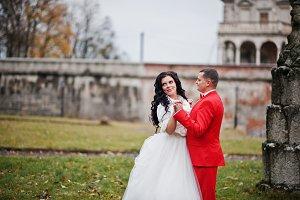 Beautiful wedding couple walking and