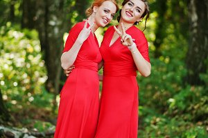 Pretty and funny bridesmaids having