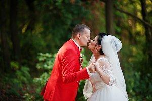 Outstanding wedding couple kissing i
