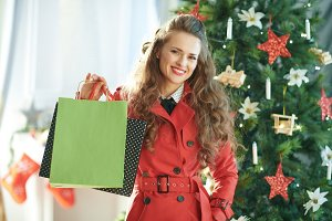 smiling young woman near Christmas t