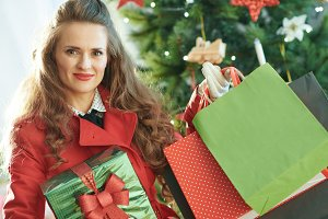 woman with shopping bags and Christm