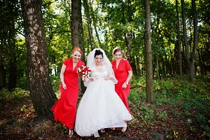 Gentle bride and beautiful bridesmai