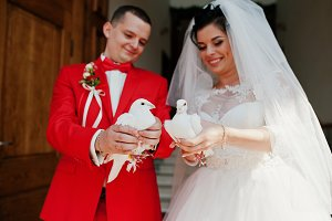 Gorgeous wedding couple releasing we