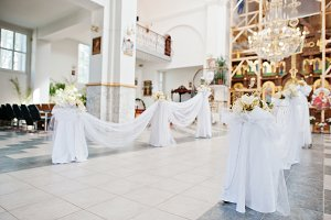 Beautifully decorated church for wed