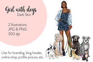 Girl with Dogs - Dark Skin