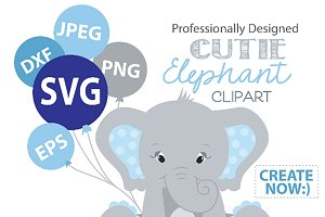 Baby Blue Elephant clipart SVG