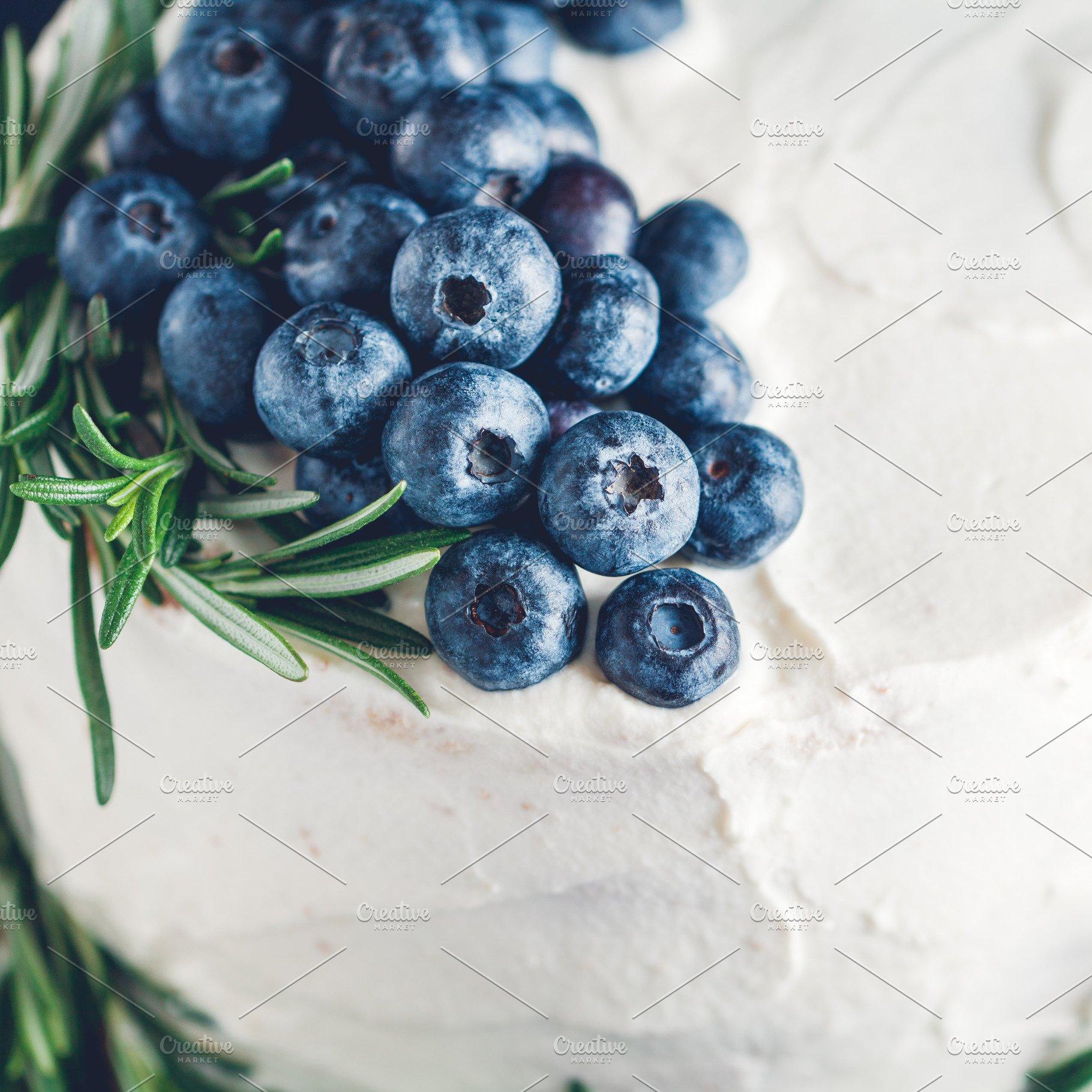 Fresh blueberries on a cake