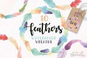 Feather Watercolor Clipart Wreaths