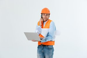 Young man wearing architect outfit