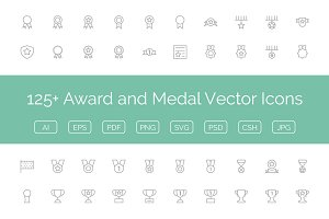 125+ Award and Medal Vector Icons