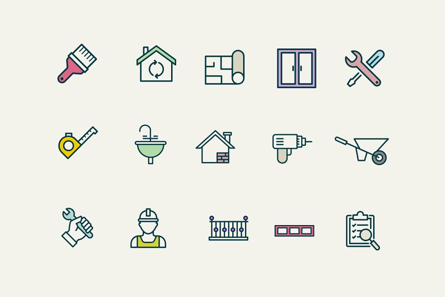 15 House Renovation Icons in Graphics - product preview 8