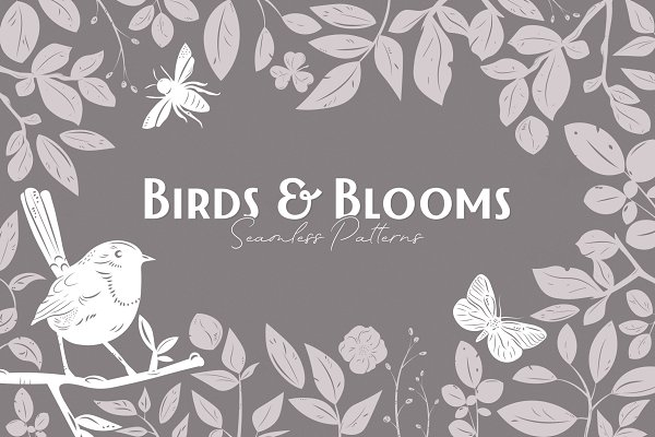 Patterns: Pixelbuddha - Birds & Blooms Seamless Patterns