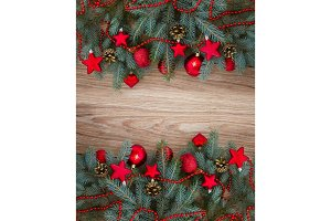 decorated fir tree border