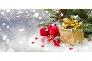fir tree with decorations and gift
