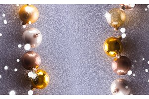 Silver and golden christmas bubbles