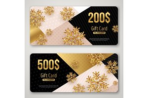 Gift cards set with gold snowflakes