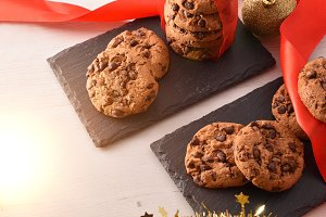 Sweet Christmas dessert with cookies